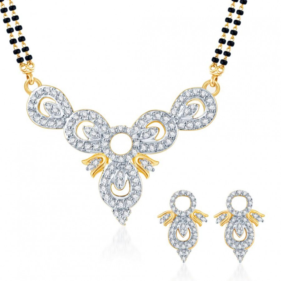 Buy Pissara Eye-Catchy CZ Gold and Rhodium Plated Mangalsutra Set Online