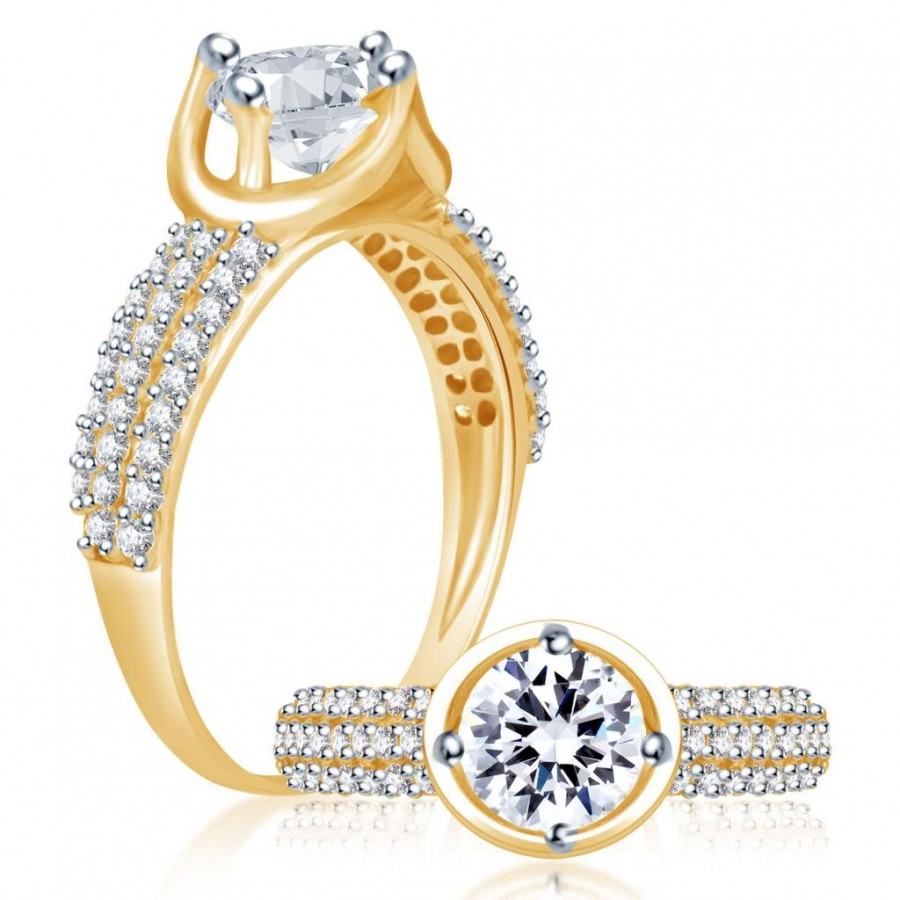 Buy Pissara Delightful Gold and Rhodium Plated Cubic Zirconia Stone Studded Solitaire Ring Online