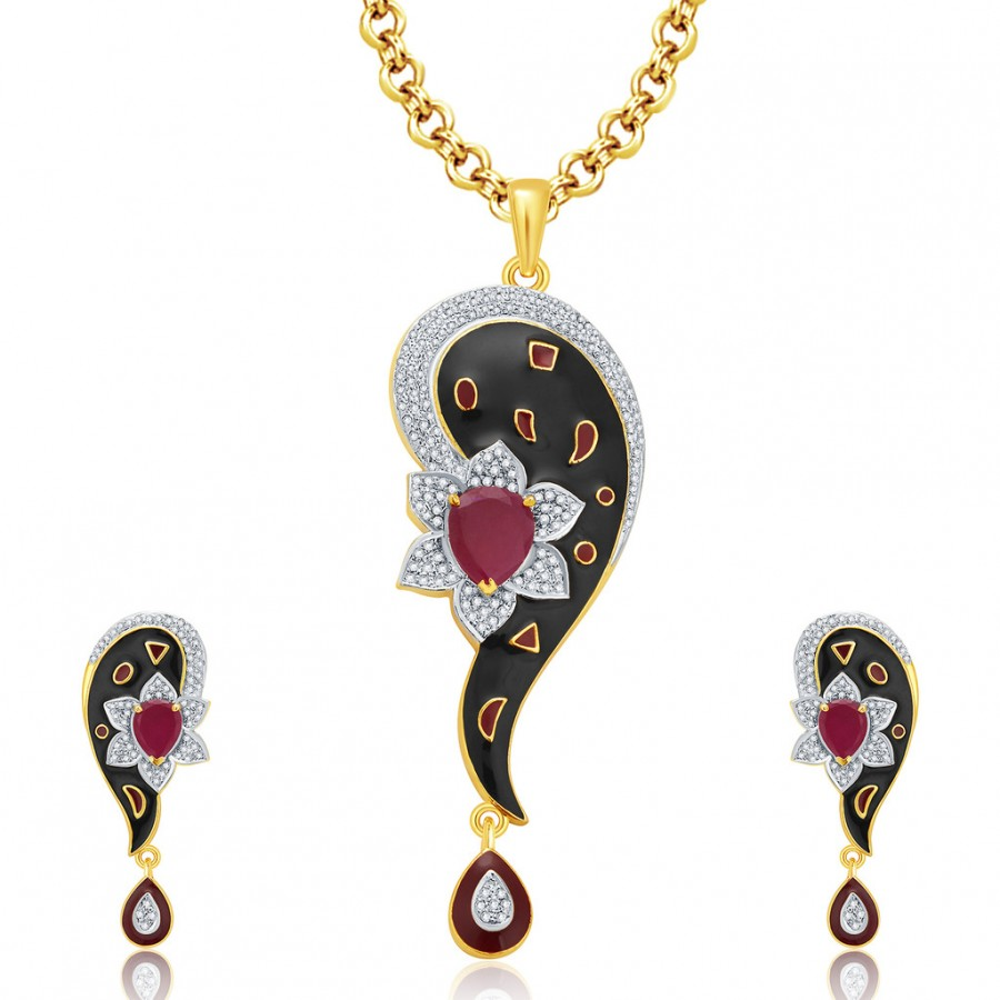 Buy Pissara Luscious Gold And Rhodium Plated Ruby CZ Pendant Set For Women Online