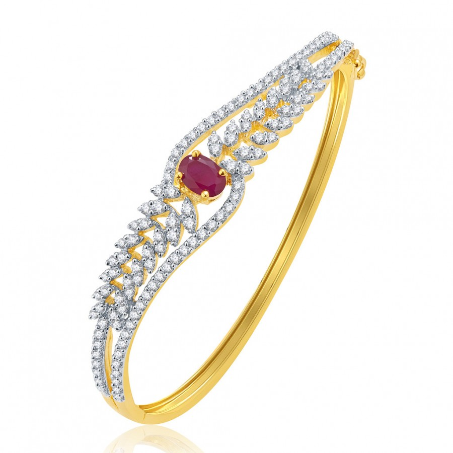 Buy Pissara Beguiling Gold And Rhodium Plated Ruby CZ Kada For Women Online