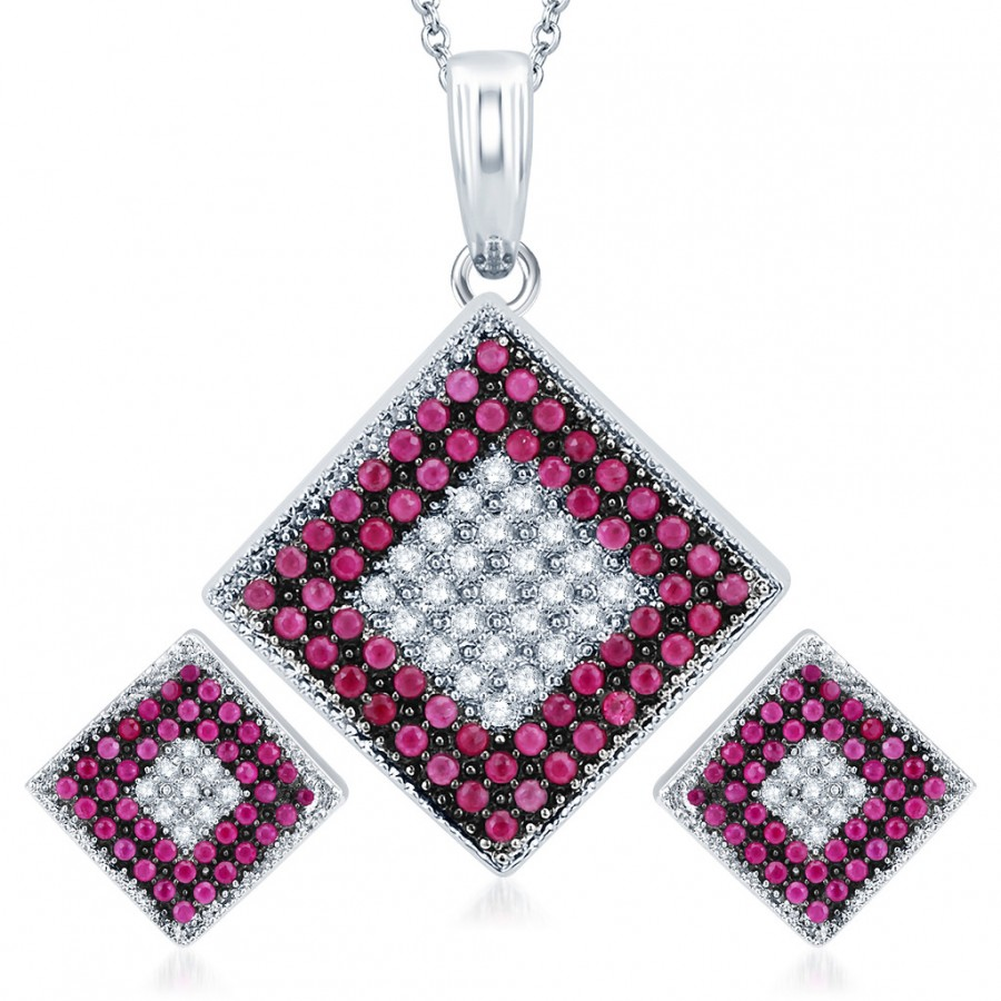 Buy Pissara Royal Rhodium Plated Ruby CZ Micro Pave Pendant Set Online