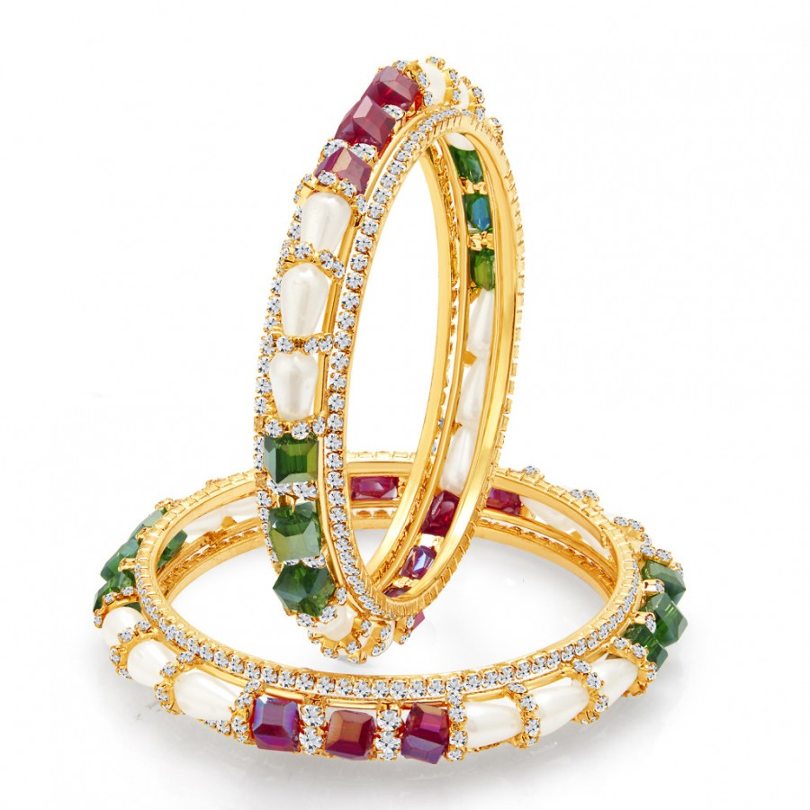 Buy Sukkhi Exquisite Gold Plated Crystal AD Bangle For Women Online