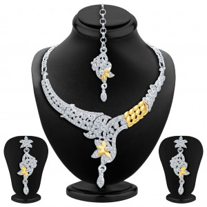 Buy Sukkhi Fabulous Gold and Rhodium Plated AD Necklace Set Online