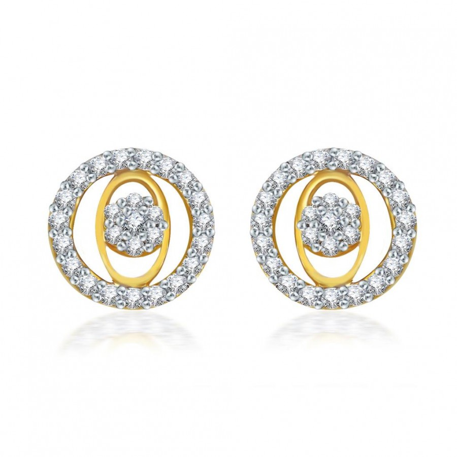 Buy Pissara Stylish Gold and Rodium plated CZ Earrings Online
