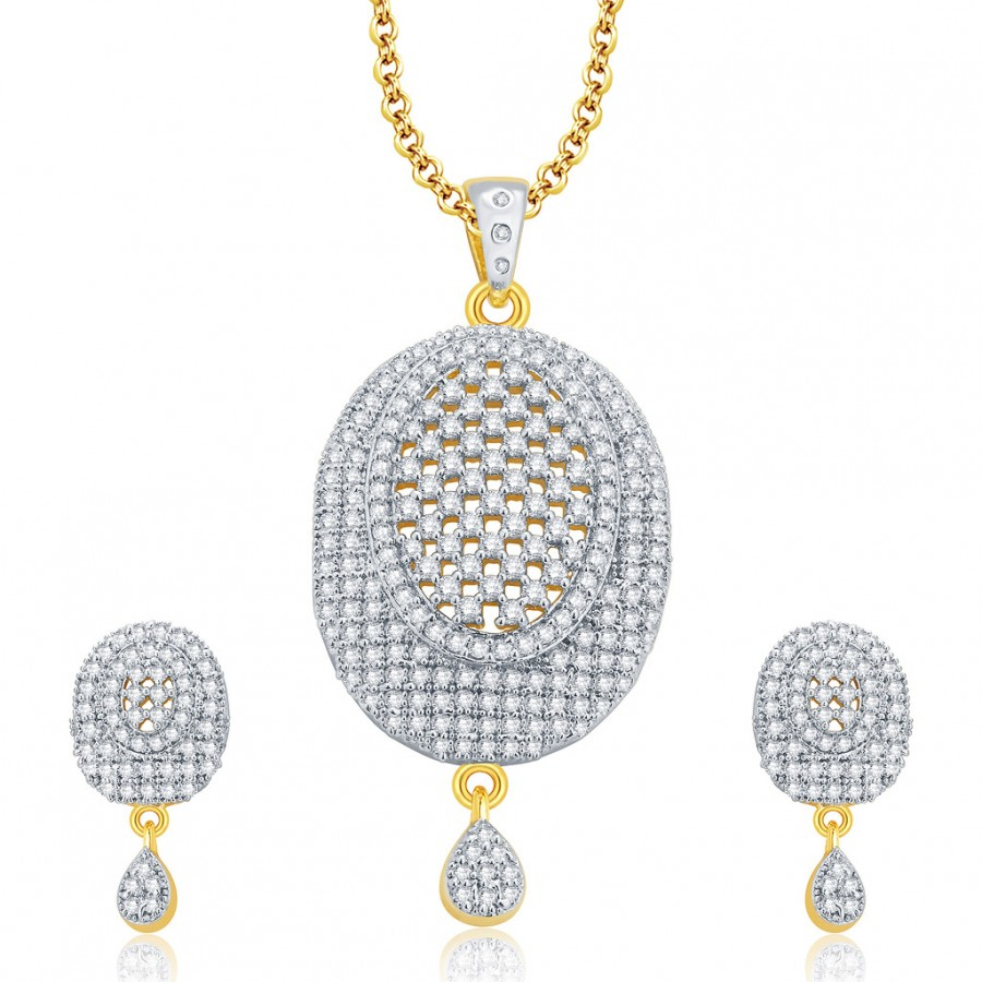 Buy Pissara Trendy Gold And Rhodium Plated CZ Pendant Set For Women Online