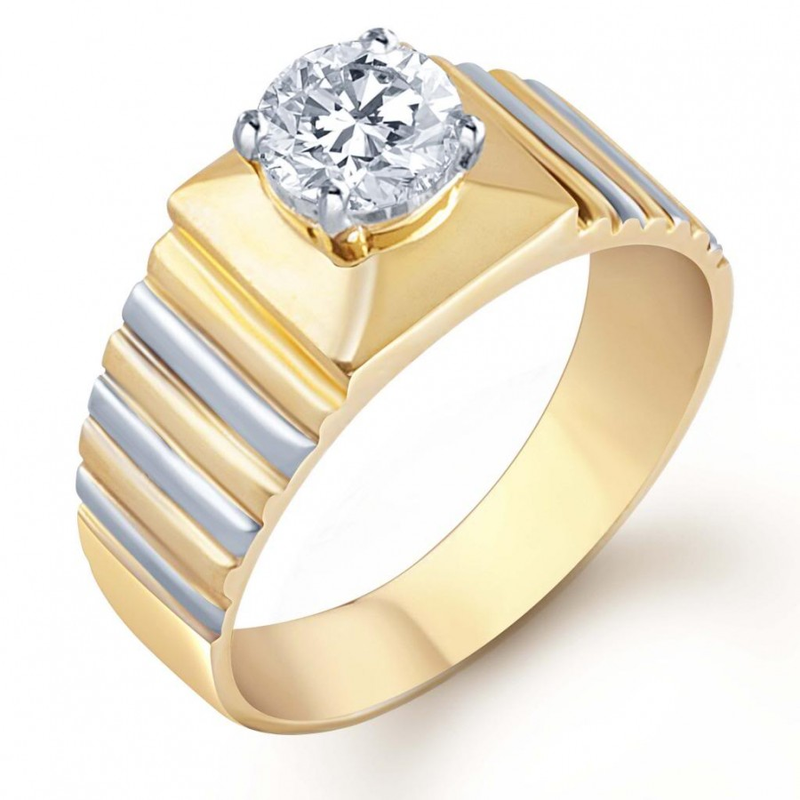 Buy Pissara Gold and Rhodium Plated Solitaire CZ Ring for Men(128GRK650) Online