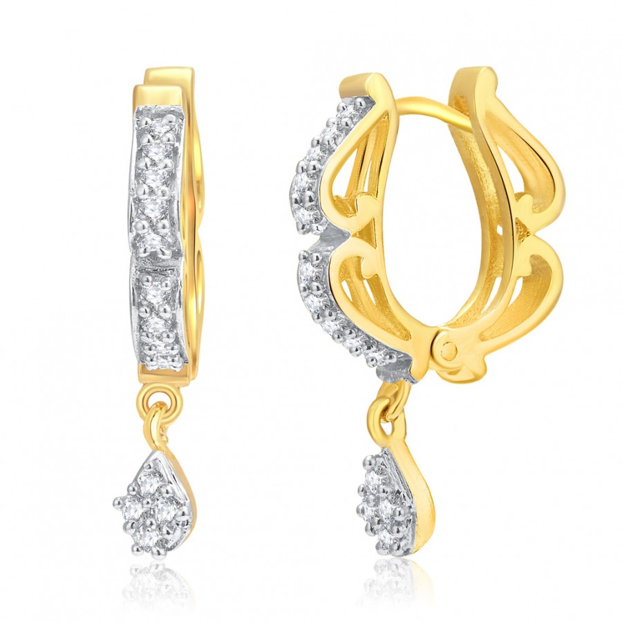 Buy Pissara Glamorous Gold And Rhodium Plated CZ Hoops For Women Online