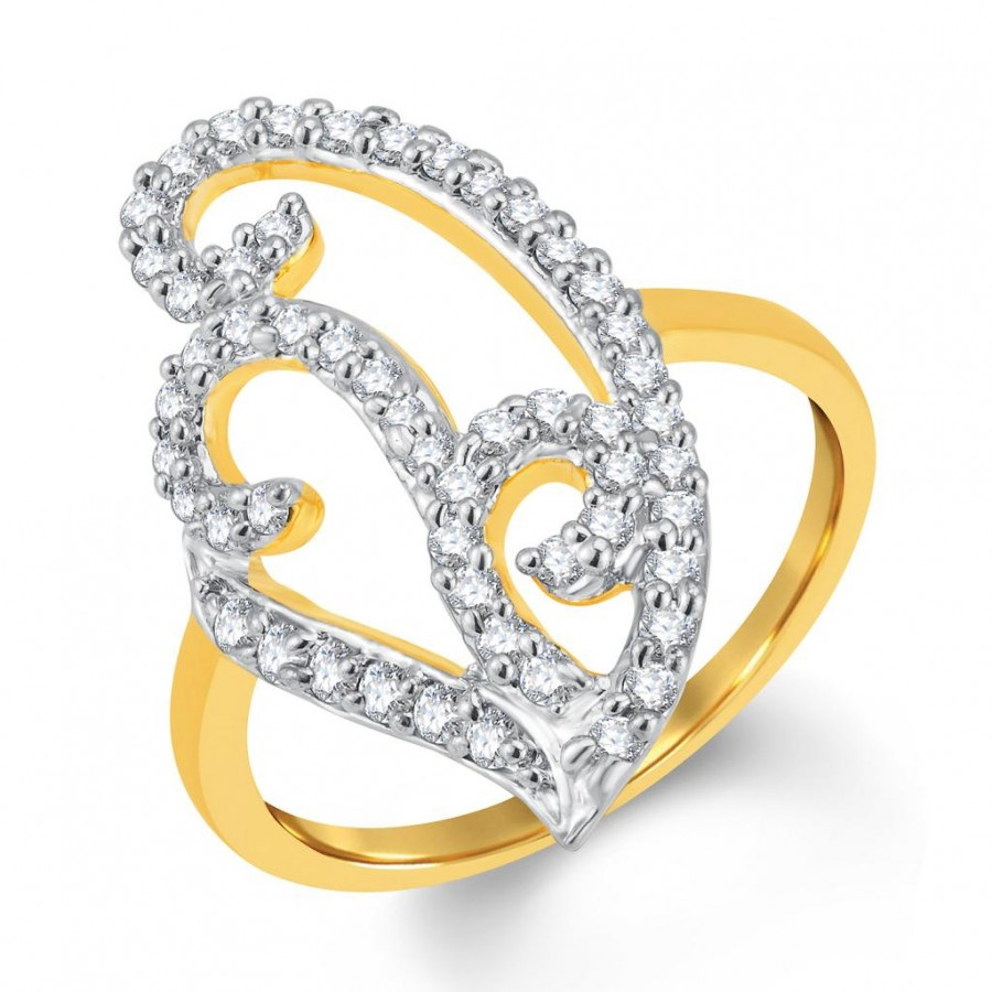 Buy Pissara Charming Gold and Rhodium Plated Cubic Zirconia Ring Online