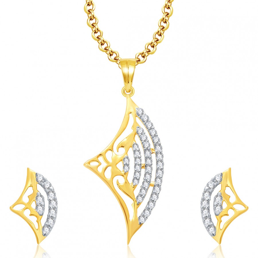 Buy Pissara Lively Gold And Rhodium Plated CZ Pendant Set For Women Online
