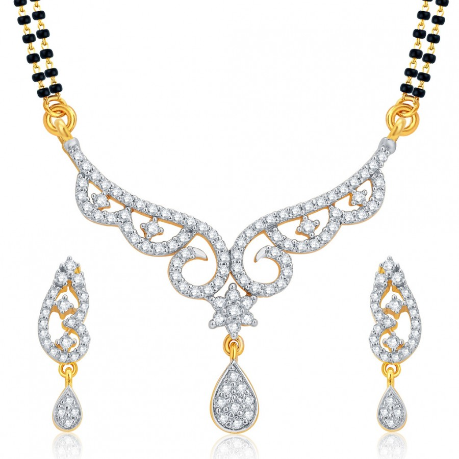 Buy Pissara Gorgeous Gold and Rhodium Plated CZ Mangalsutra Set For Women Online