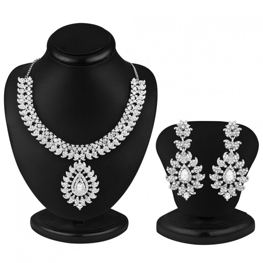 Buy Sukkhi Incredible Rhodium plated AD Stone Necklace Set Online