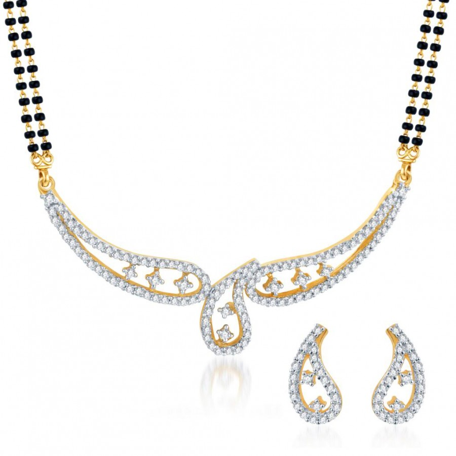Buy Pissara Resplendent CZ Gold and Rhodium Plated Mangalsutra Set Online