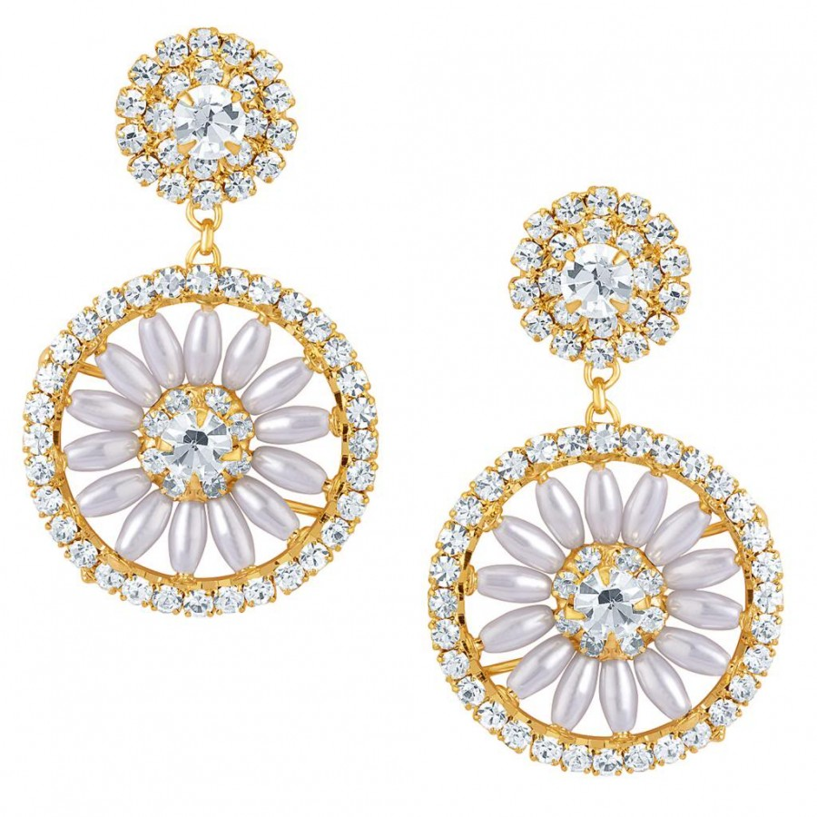 Buy Sukkhi Incredible Gold Plated Earrings With AD and White Pearls Online