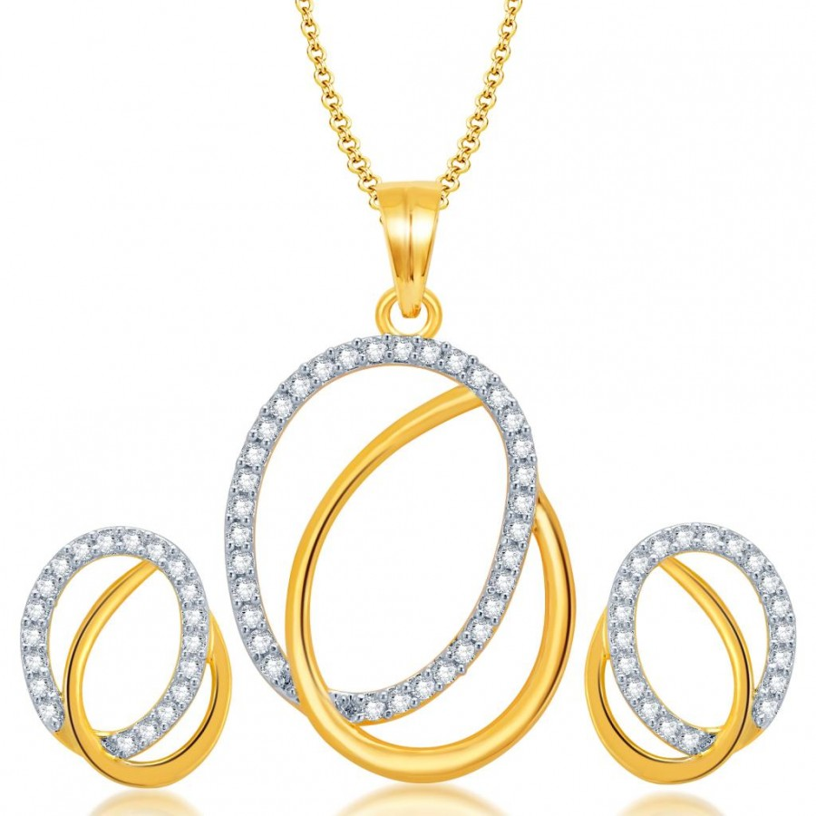 Buy Pissara Glistening Gold and Rhodium Plated CZ Pendant Set for Women Online