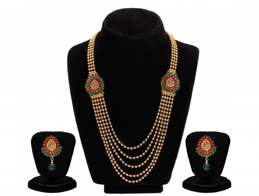 Buy Sukkhi Emerald Ruby Five String Gold Plated Pretty Necklace Set Online