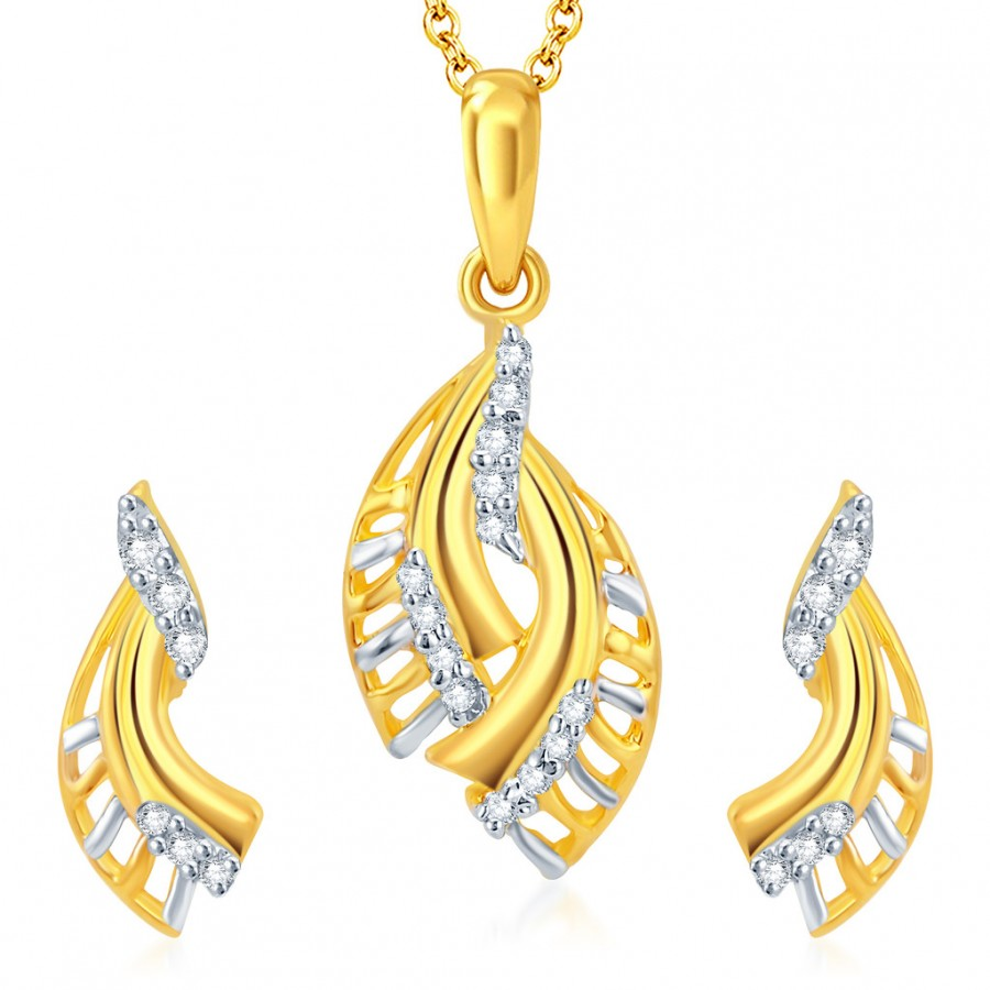 Buy Pissara Delightly Gold and Rhodium Plated CZ Pendant Set Online
