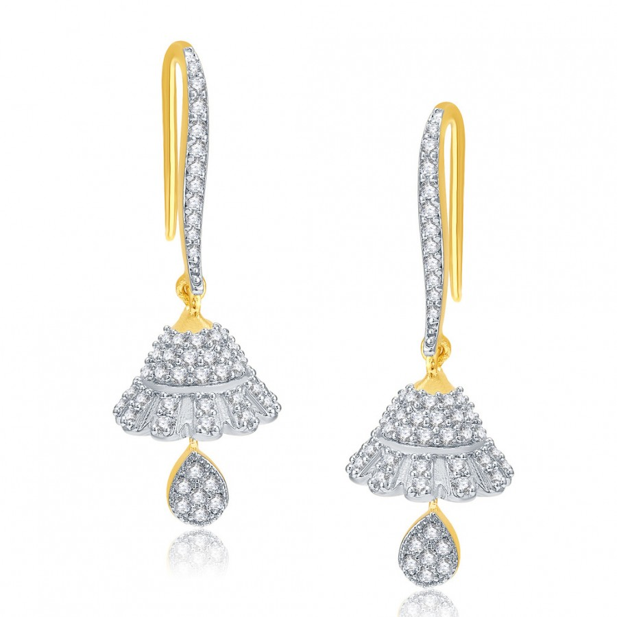 Buy Pissara Soothing Gold And Rhodium Plated CZ Earrings For Women Online