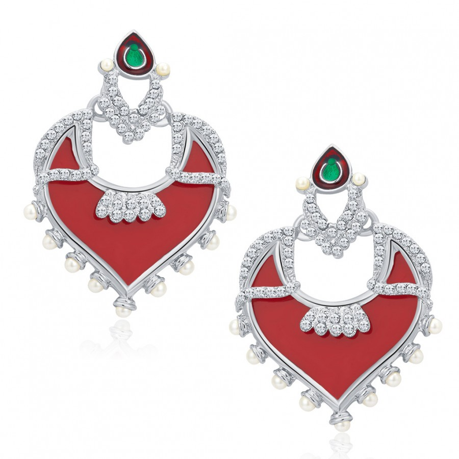 Buy Sukkhi Divine Rhodium Plated AD Earrings For Women Online