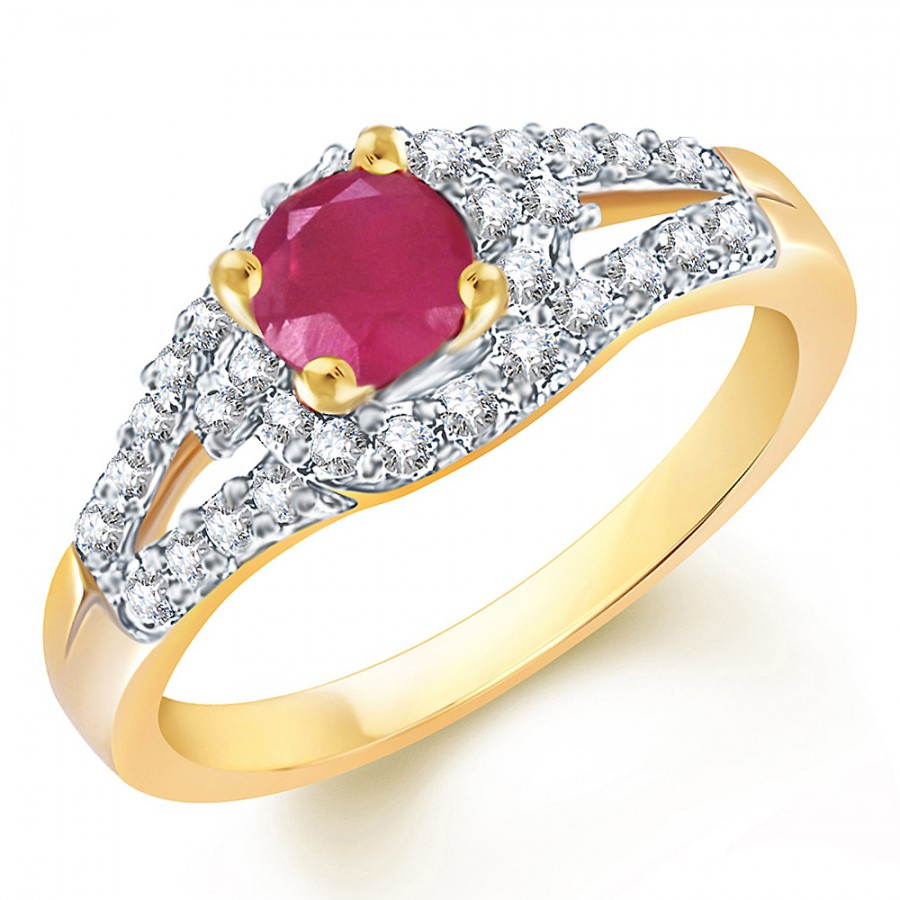 Buy Sukkhi Delightful Gold and Rodium plated CZ Studded Ruby Ring Online