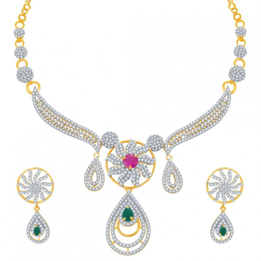 Buy Pissara Youthful Ruby and Emerald Studded Gold and Rhodium Plated CZ Necklace Set Online