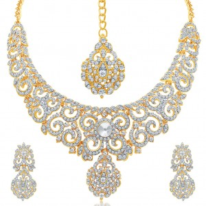 Buy Pissara Attractive Gold Plated AD Necklace Set For Women Online