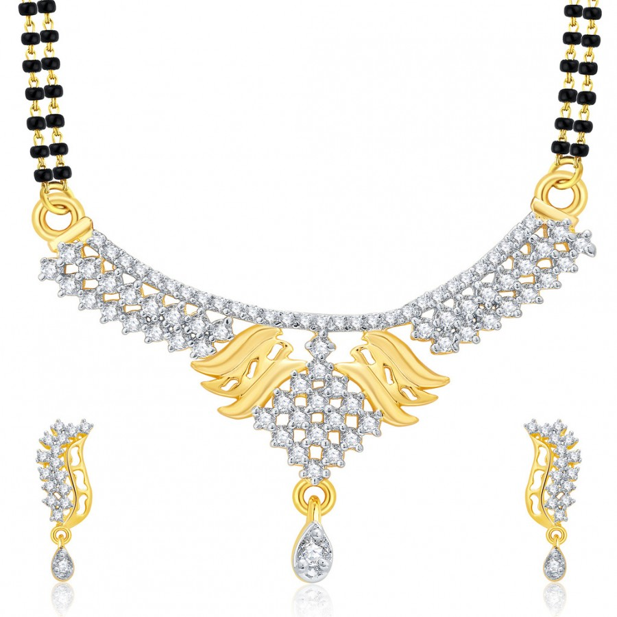 Buy Pissara Opulent Gold And Rhodium Plated CZ Mangalasutra Set For Women Online