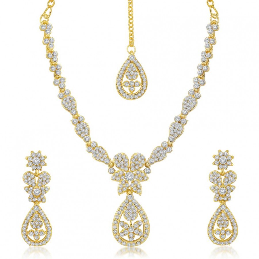 Buy Sukkhi Traditionally Gold Plated Australian Diamond Stone Studded Necklace Set Online
