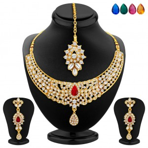 Buy Sukkhi Modish Gold Plated AD Necklace Set with Set of 5 Changeable Stone Online