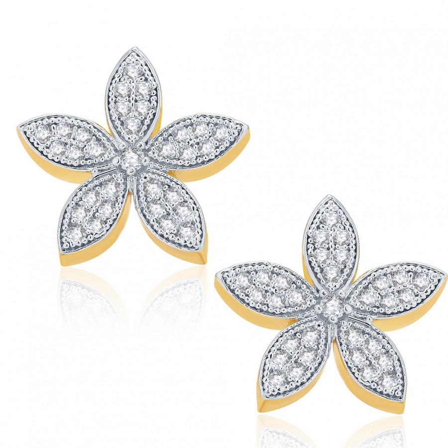 Buy Pissara Graceful Gold And Rhodium Plated CZ Stud Earrings For Women Online