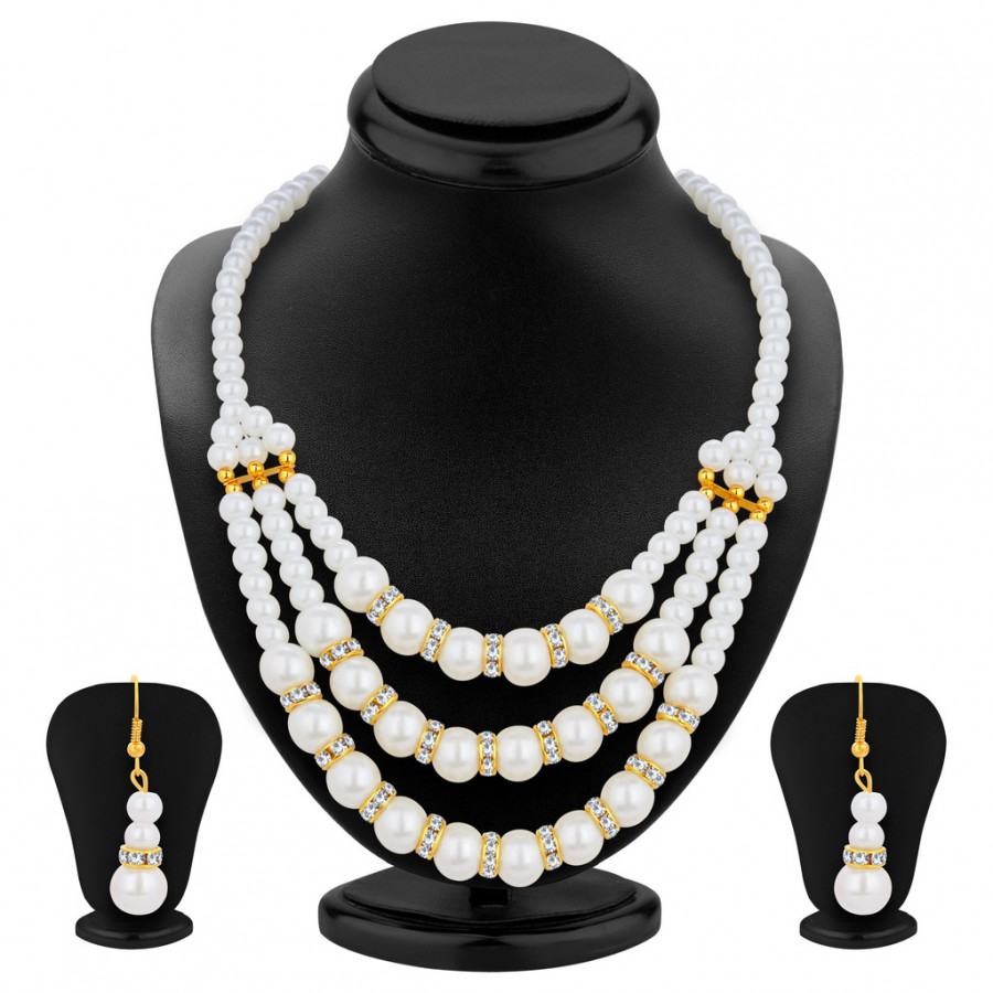 Buy Pissara Glimmery Three Strings Gold Plated AD Necklace Set For Women Online