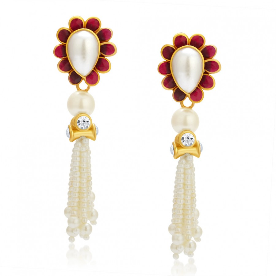 Buy Sukkhi Brilliant Gold Plated Pearl AD Earring For Women Online
