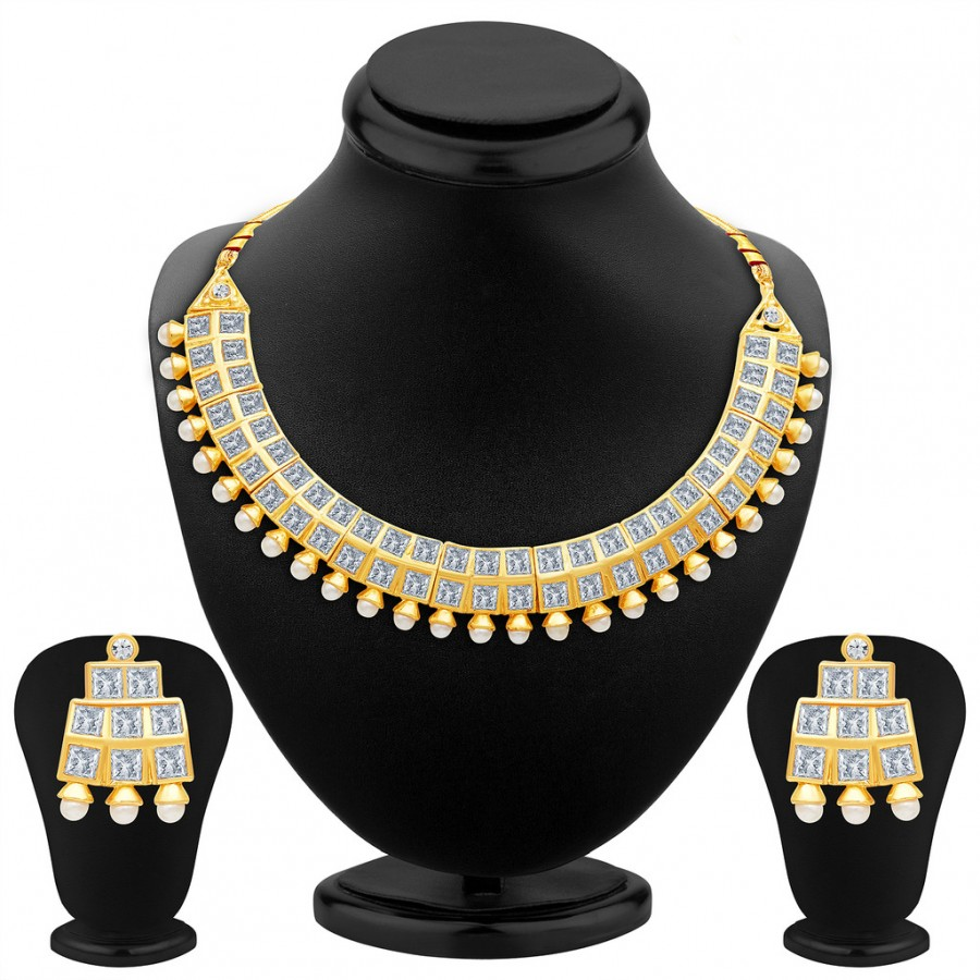 Buy Sukkhi Excellent Gold Plated AD Necklace Set Online