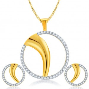 Buy Pissara Fancy Gold and Rhodium Plated CZ Pendant Set for Women Online
