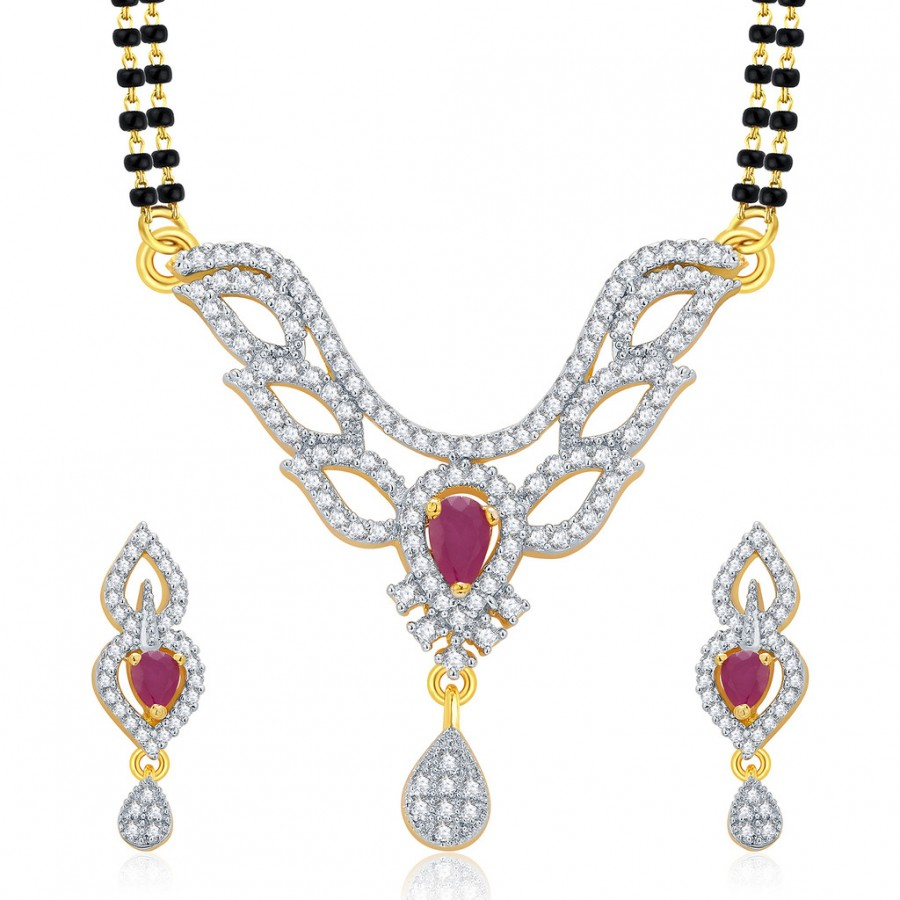 Buy Pissara Glorious Gold And Rhodium Plated Ruby CZ Mangalasutra Set For Women Online