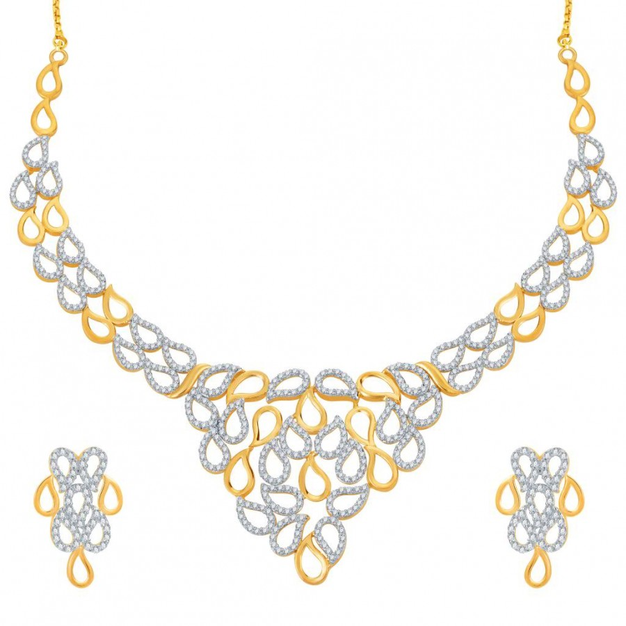 Buy Pissara Lavish Gold and Rhodium Plated CZ Necklace Set Online