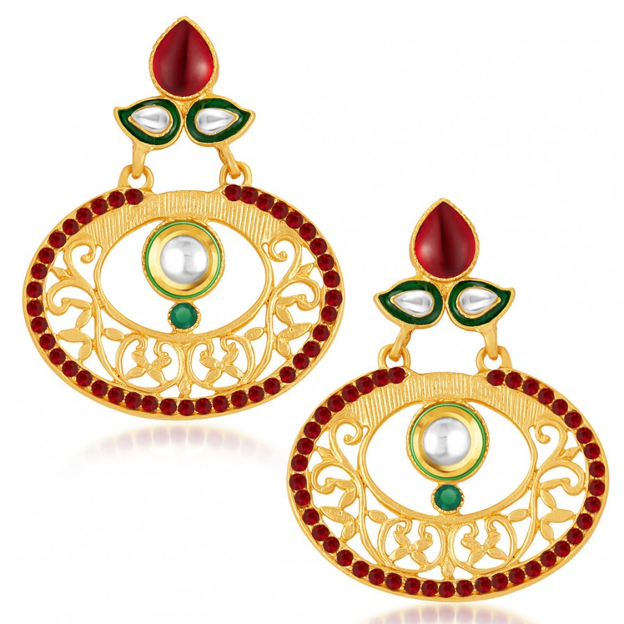 Buy Sukkhi Cluster Gold Plated Australian Diamond Earrings Online