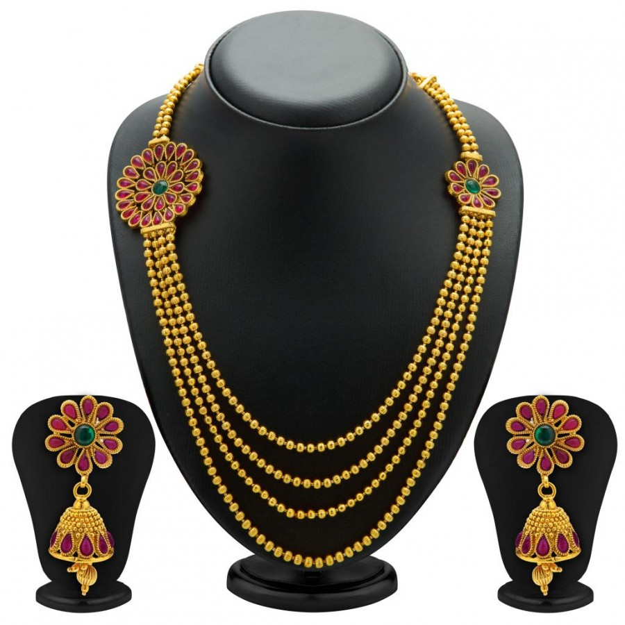Buy Sukkhi Intricately Gold Plated Four String Necklace Set for Women Online