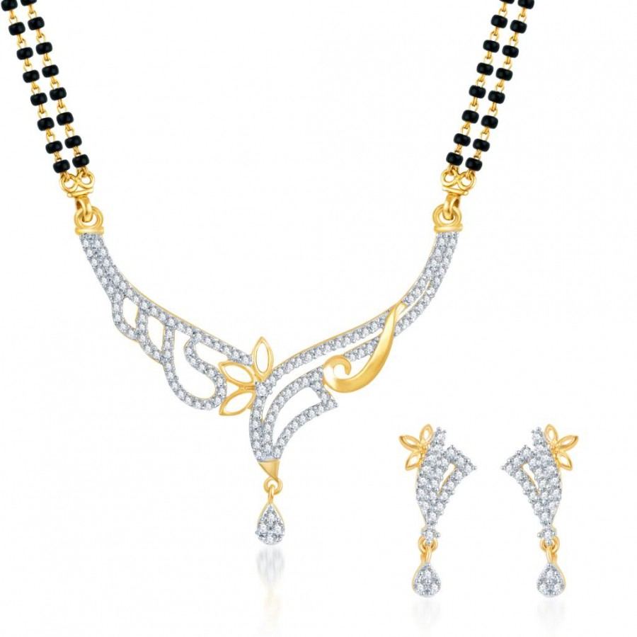 Buy Pissara Well Crafted CZ Gold and Rhodium Plated Mangalsutra Set Online