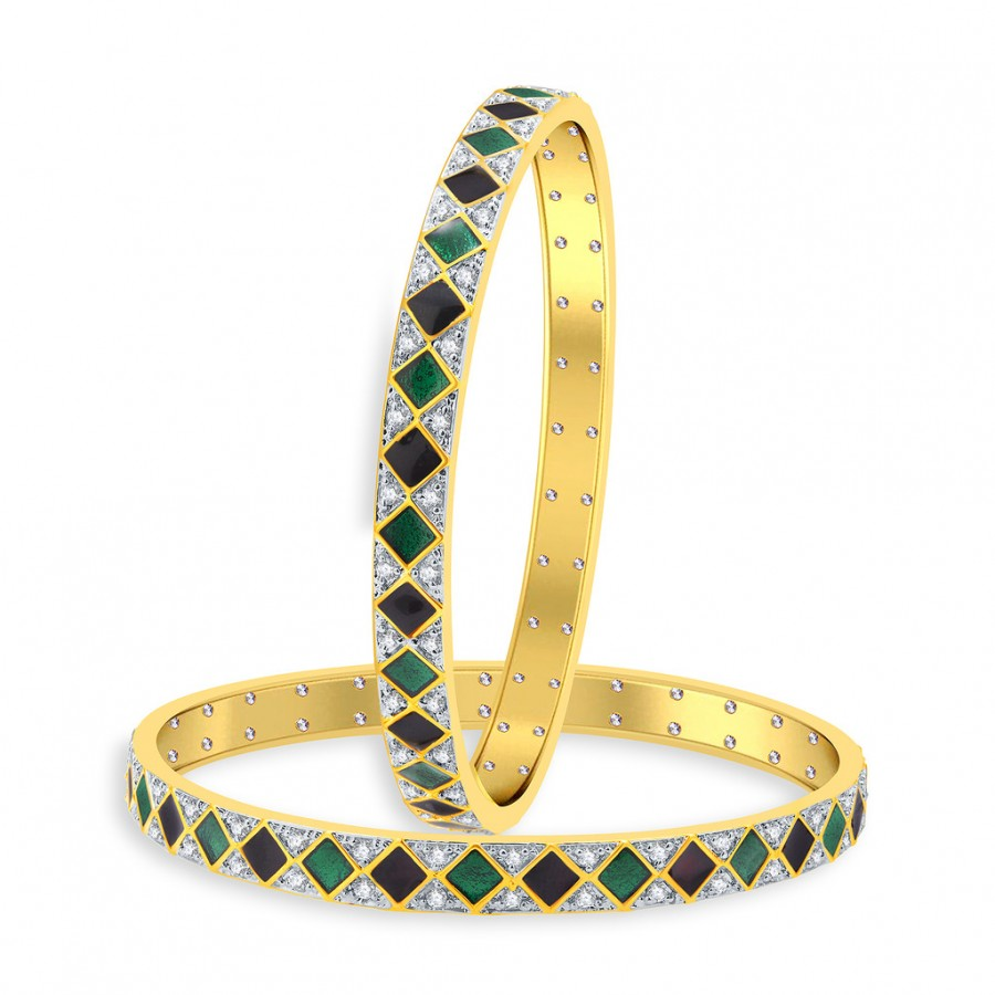 Buy Pissara Spectacular Gold And Rhodium Plated CZ Bangles For Women Online