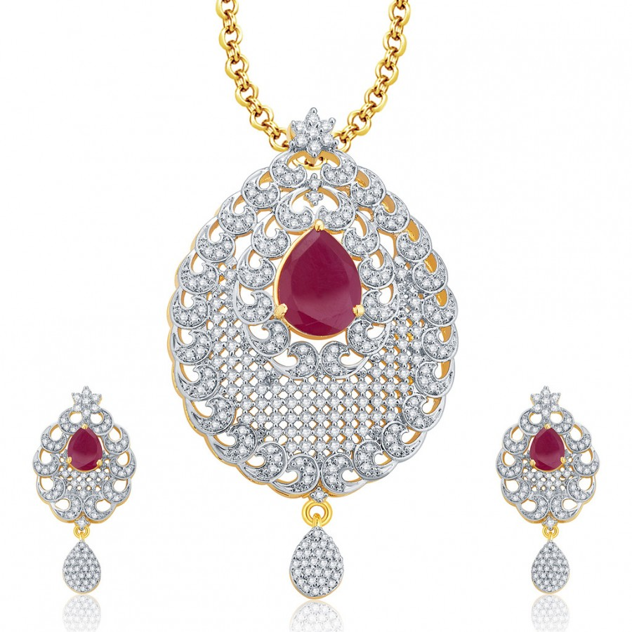 Buy Pissara Seraphic Gold And Rhodium Plated Ruby CZ Pendant Set For Women Online