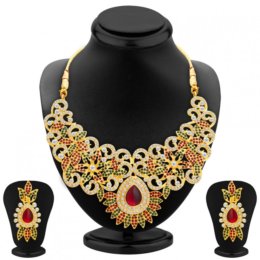 Buy Sukkhi Attractive Gold Plated AD Necklace Set For Women Online