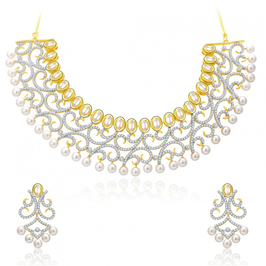 Buy Pissara Classy Gold And Rhodium Plated CZ Kundan Neklace Set For Women Online