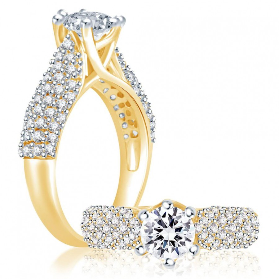 Buy Pissara Sublime Gold and Rhodium Plated Cubic Zirconia Stone Studded Solitaire Ring Online
