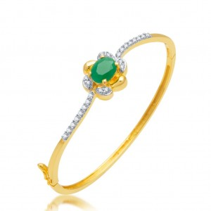Buy Pissara Delightful Gold and Rhodium Plated CZ Emerald Stone Kada for Women Online