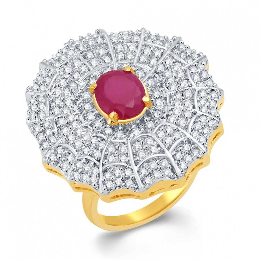 Buy Pissara Dazzling Gold And Rhodium Plated Ruby CZ Ring For Women Online
