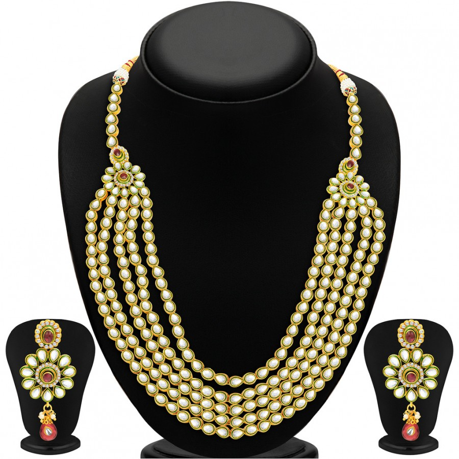 Buy Sukkhi Blossomy Five Strings Gold Plated Kundan Necklace Set Online