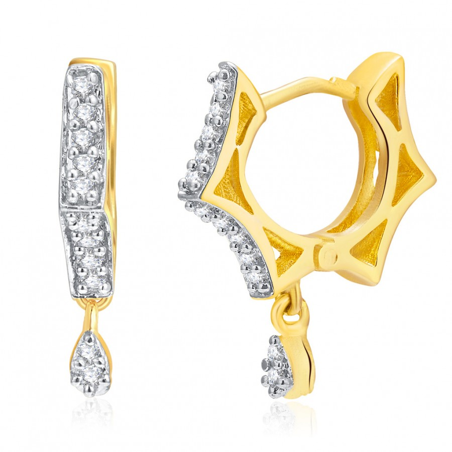 Buy Pissara Glittery Gold And Rhodium Plated CZ Hoops For Women Online