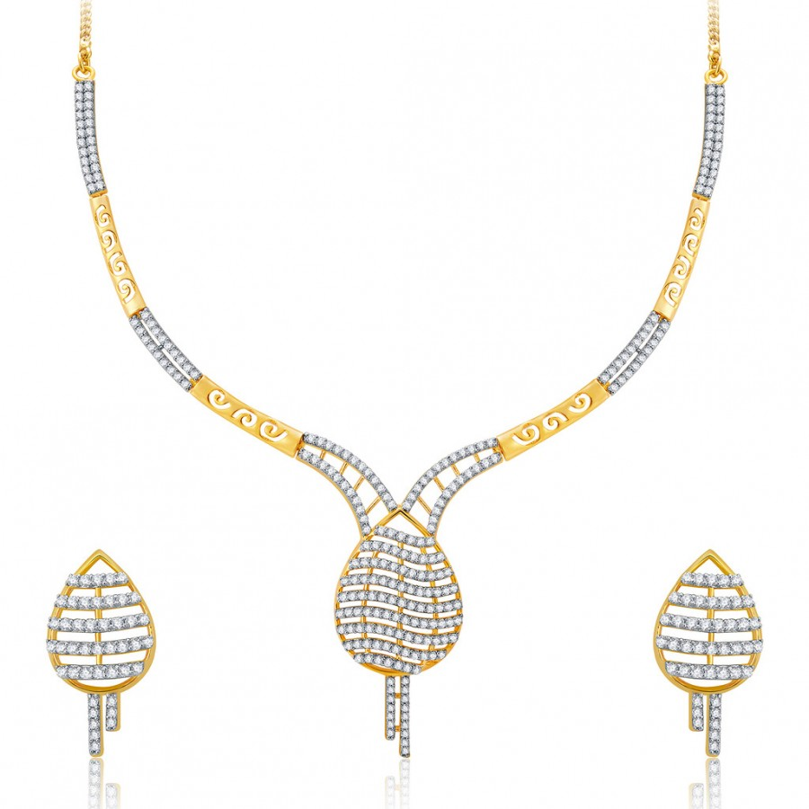 Buy Pissara Lovely Gold And Rhodium Plated CZ Neklace Set For Women Online