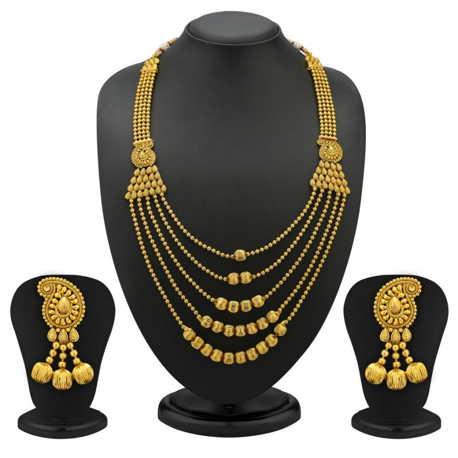 Buy Sukkhi 5 Strings Keri Design Gold Plated Antique Necklace Set Online