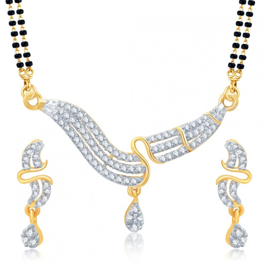 Buy Pissara Sleek Gold and Rhodium Plated Cubic Zirconia Stone Studded Mangalsutra Set Online